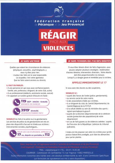 REAGIR FACE AUX VIOLENCES